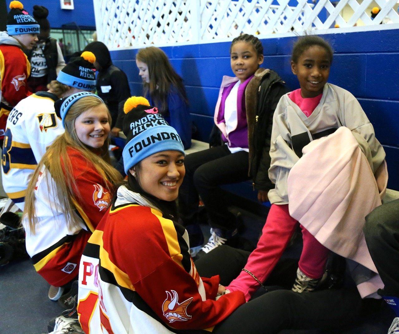 East girls skates on